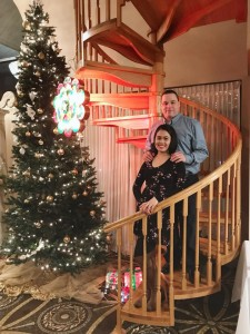 couple pose on stairway